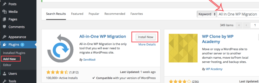 migrate your wordpress website with all in one wp migration