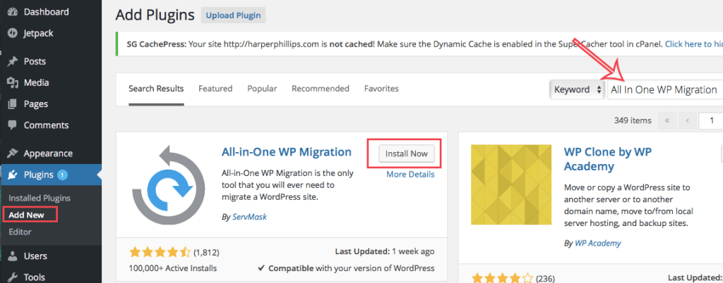 Step 3: Install All in One WP Migration